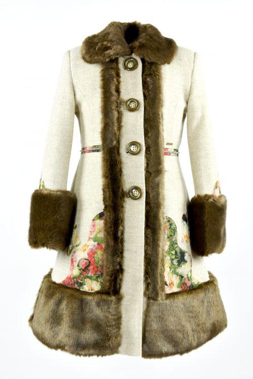 Palton de iarnă bej pentru fete
