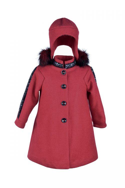 Palton de iarnă roșu pentru fete Little Red