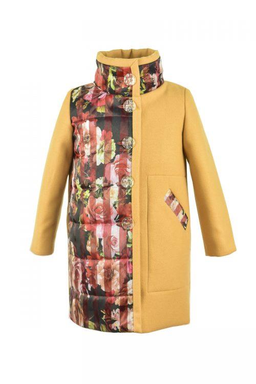 Palton IRIDOR muștar pentru fete Winter Flower