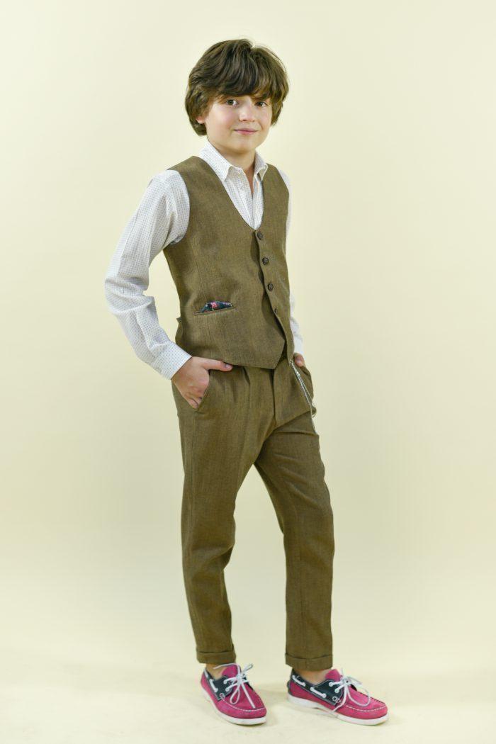 Costum de stofă pentru băieți Arturo bej