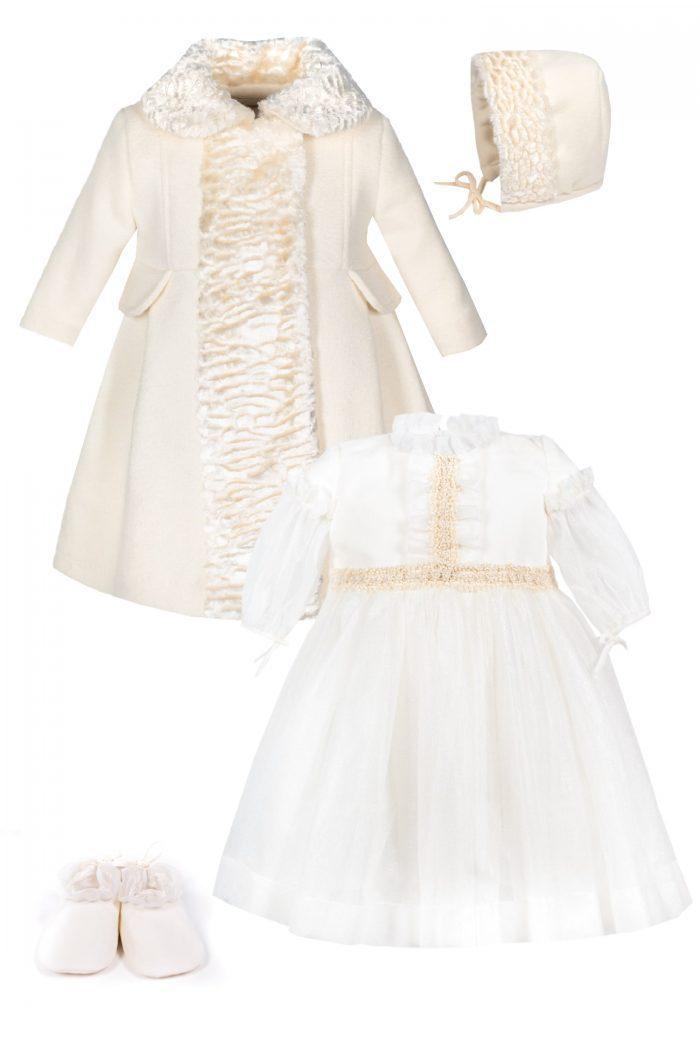 Palton si rochie de botez pentru fetite