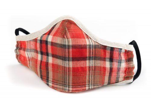 Mască textilă de protecție Red Plaids - exterior