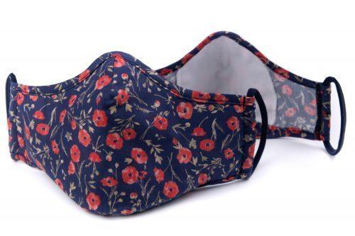 Mască textilă de protecție bleumarin cu maci