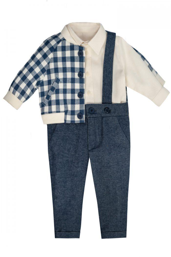 Set IRIDOR pentru bebeluși jachetă pantaloni și cămașă Iunian