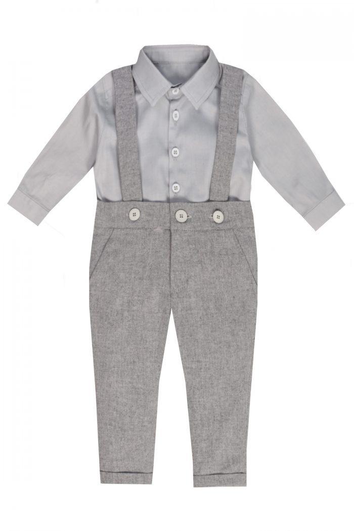 Costum de botez pentru băieței Grey
