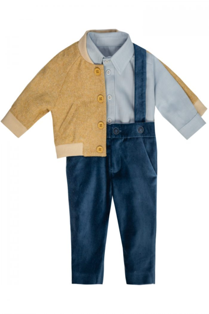 Set de botez pentru băieți Ennio jachetă pantaloni și cămașă
