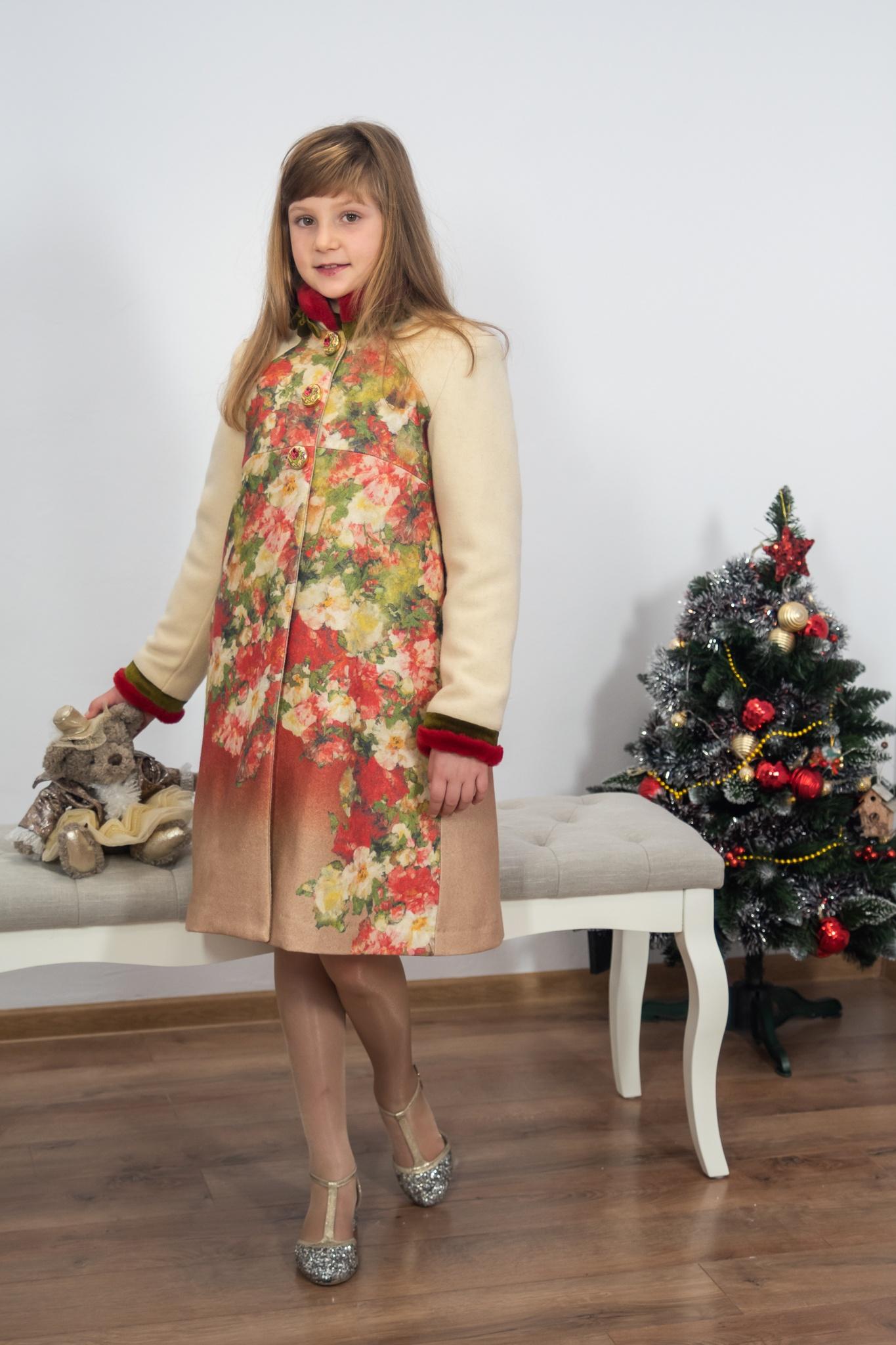 Palton crem de iarnă pentru fete IRIDOR