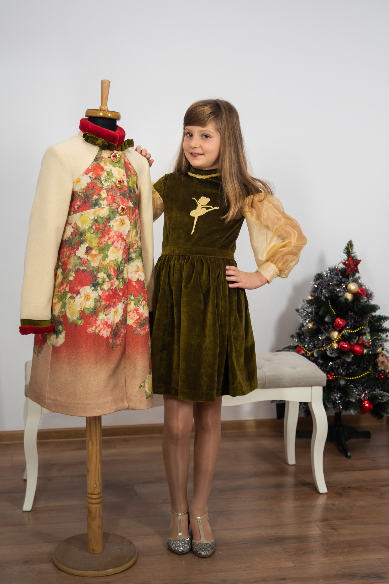 Rochie si palton de iarna pentru fete IRIDOR