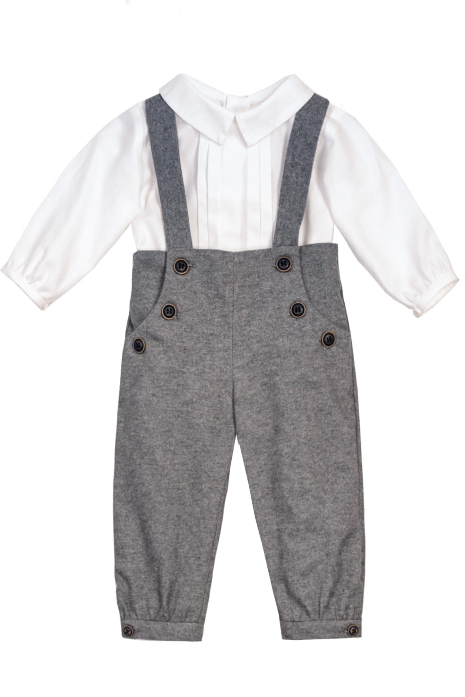 Pantaloni cu bretele și cămașă-body pentru bebeluși Nick