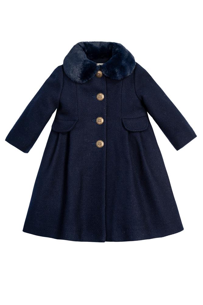 Palton bleumarin de lână pentru fete Aimee