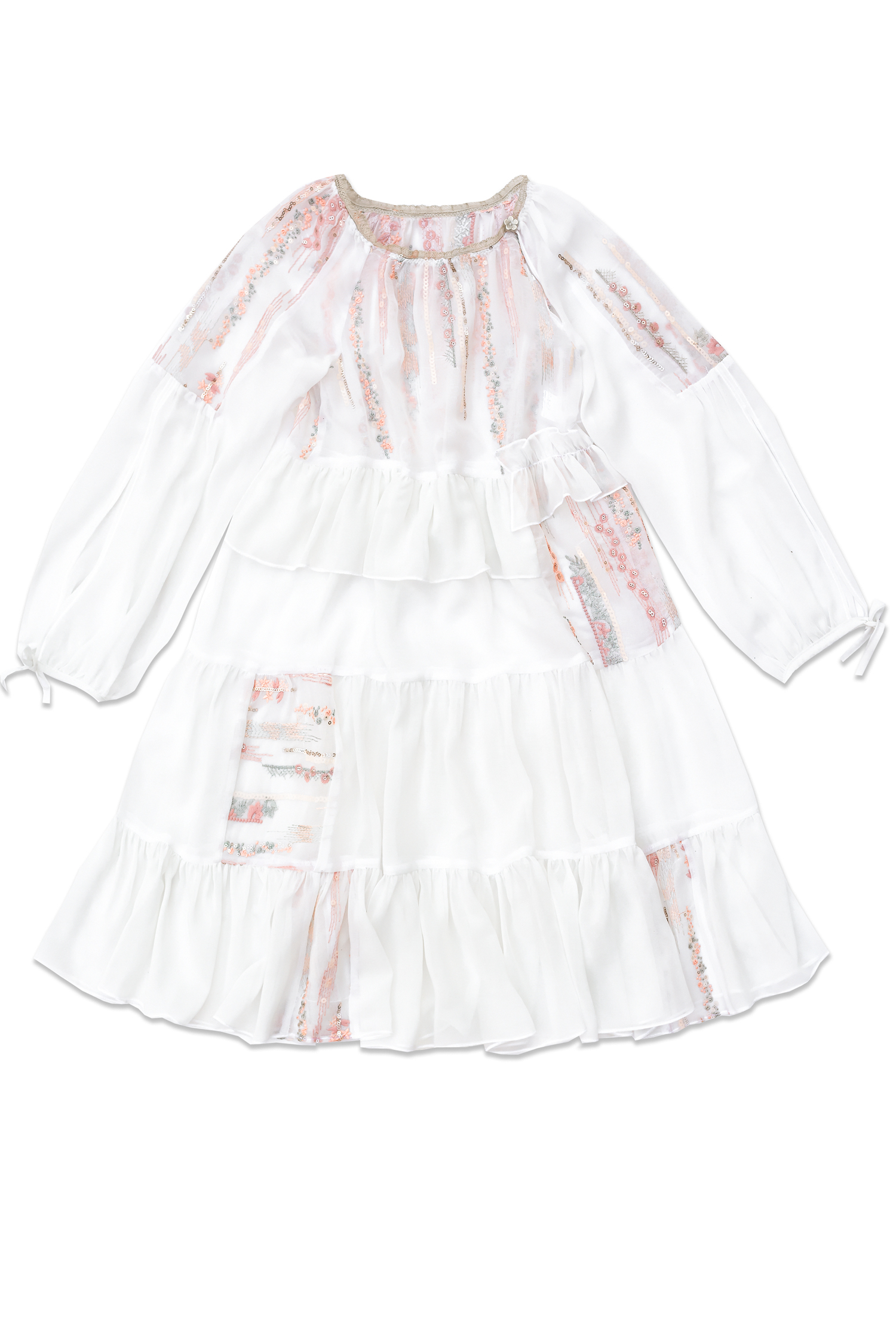 Rochie pentru fete Bella Voal alb Paiete IRIDOR